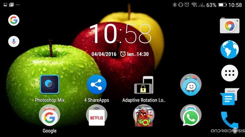 Launcher android en modo Landscpae