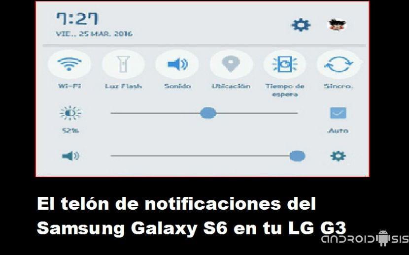 Descargar e instalar el telón de notificaciones del Samsung Galaxy S6 en el LG G3