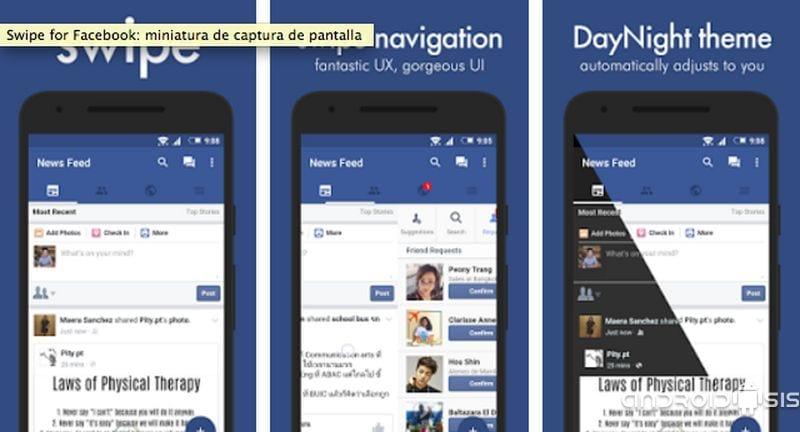 Swipe for Facebook, el mejor cliente de Facebook liviano y eficiente