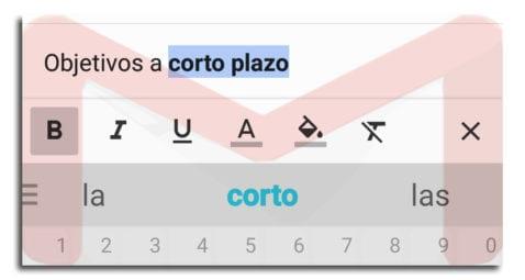 Cómo aplicar negrita Gmail
