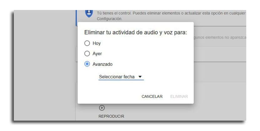 Eliminar activdad de audio