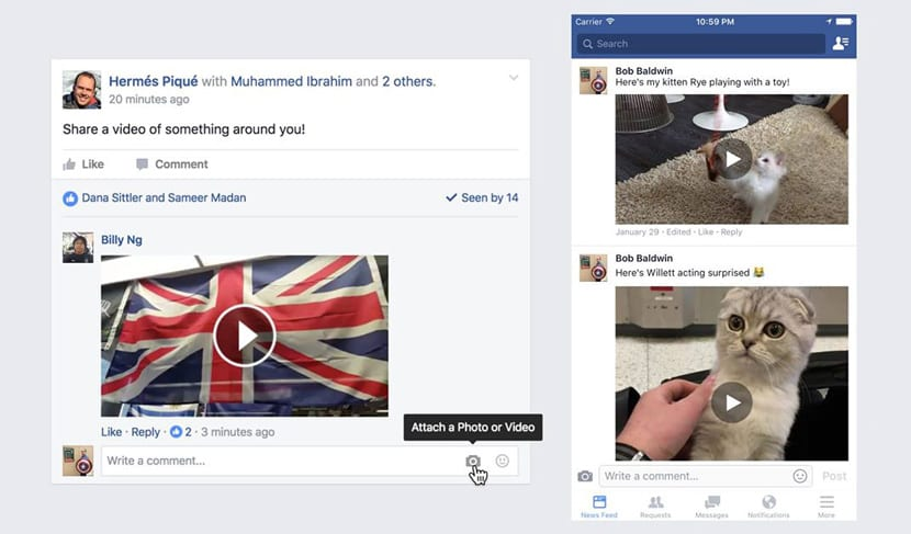 Responder con vídeos en Facebook