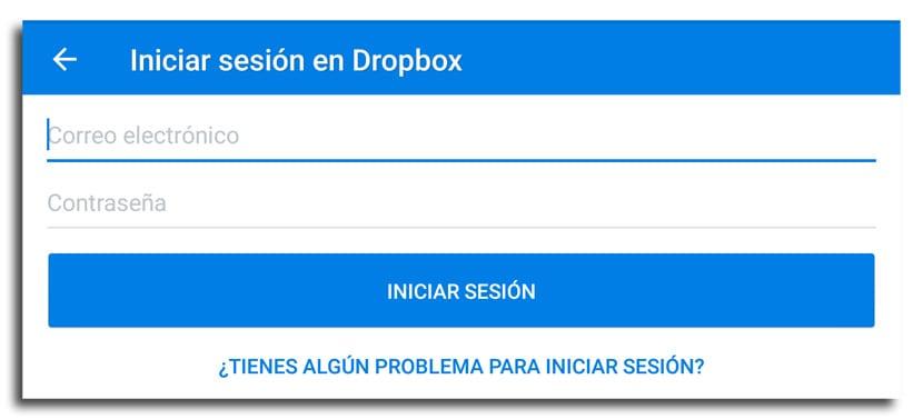 Iniciar sesión Dropbox