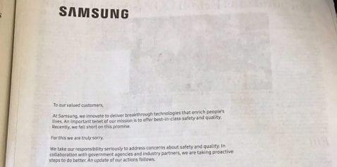 Samsung pide disculpas por el Galaxy Note 7 en los principales diarios estadounidenses