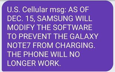Imagen del mensaje enviado por US Cellular advirtiendo de que Samsung desactivará la carga del Galaxy Note 7 el 15 de diciembre
