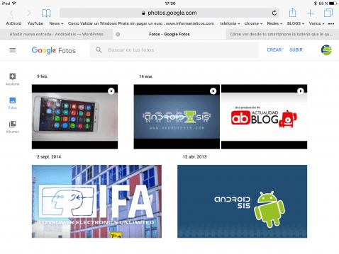 Interfaz Web de google Fotos