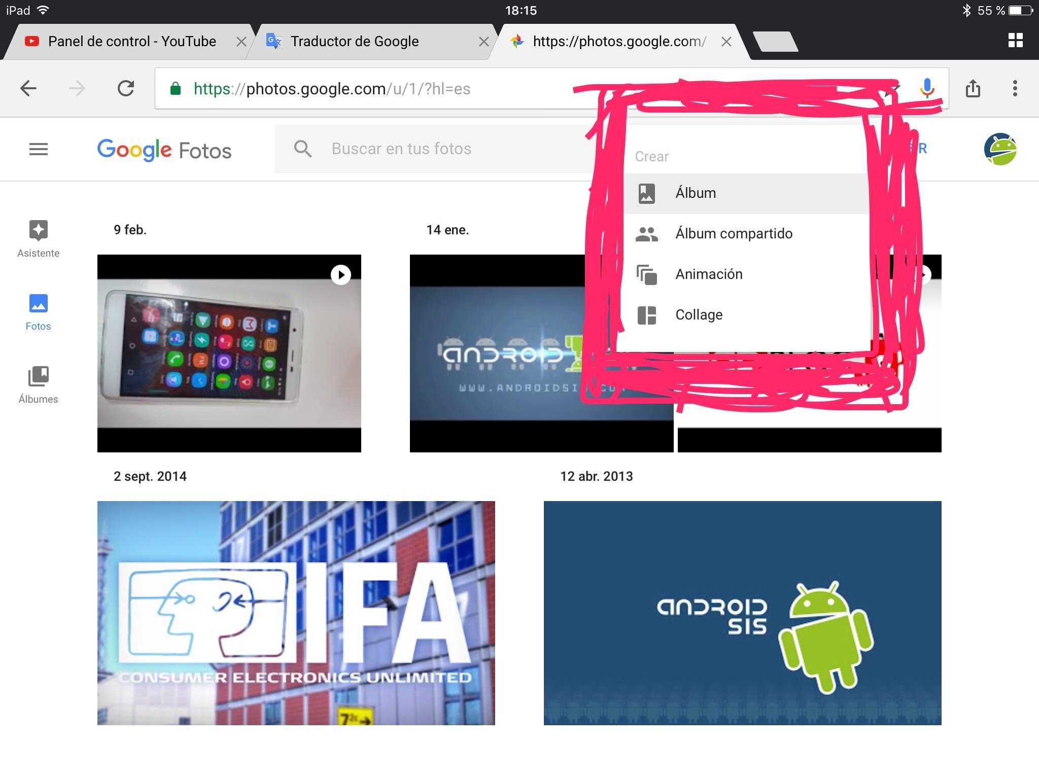 Versión web de Google fotos