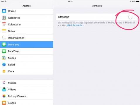 Desactivar iMessage