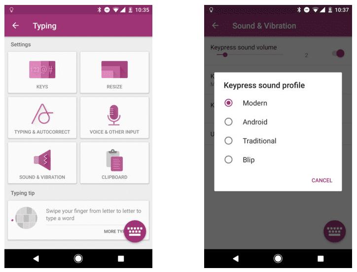 El teclado SwiftKey para Android se actualize con sonidos
