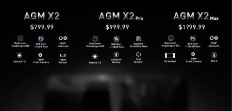 AGM X2, X2 Pro y X2 Max