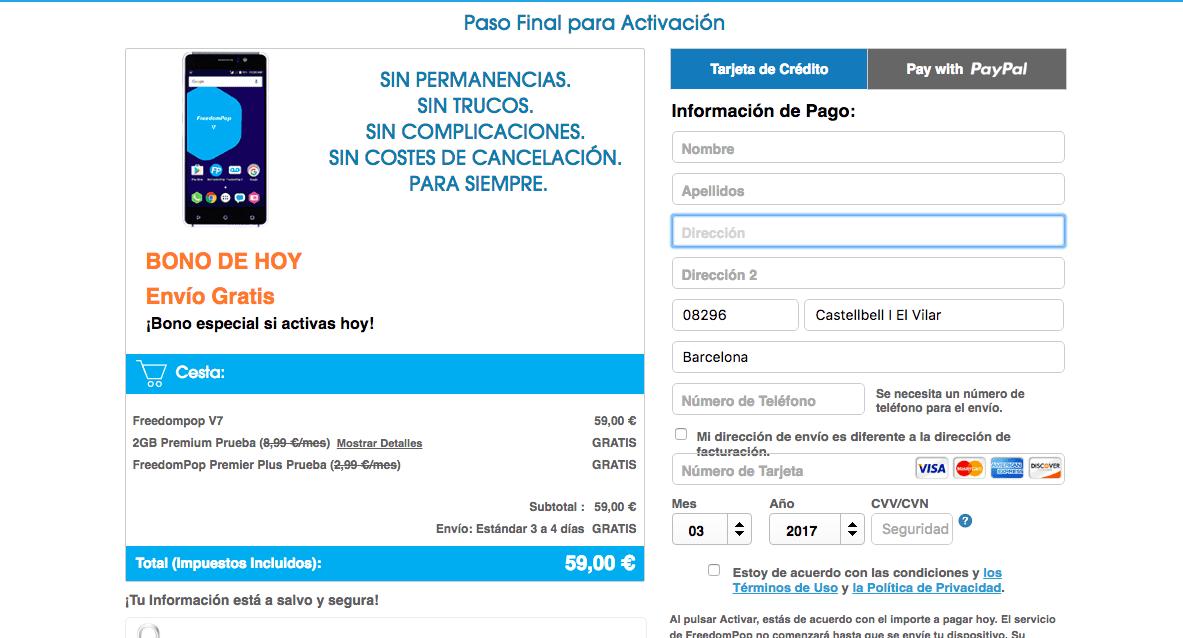 Contratar oferta FreedomPop Smartphone por 59 Euros