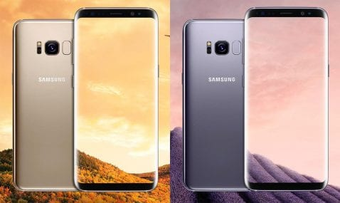 Galaxy S8 dorado y plata