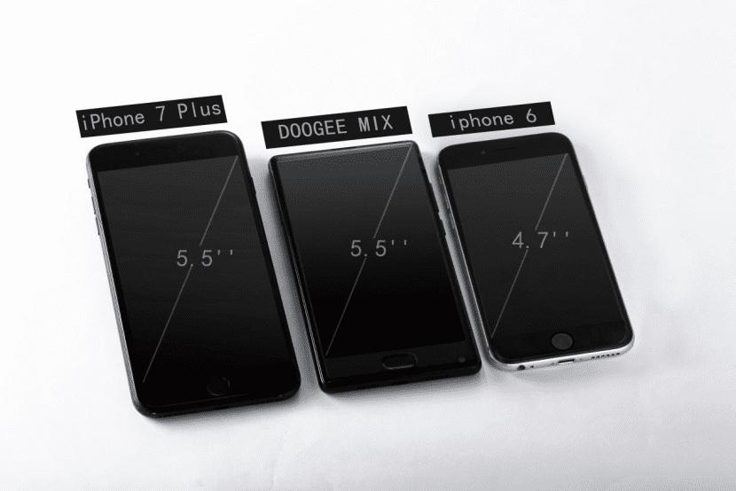 Doogee MIX frente al iPhone 7 Plus y el iPhone 6