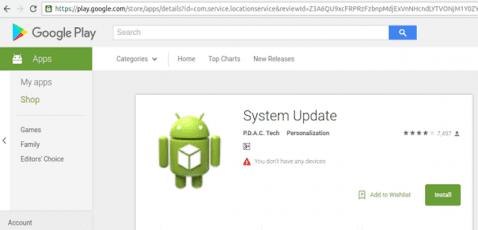 """Google retira la falsa app """"System Update"""" de la Play Store"""
