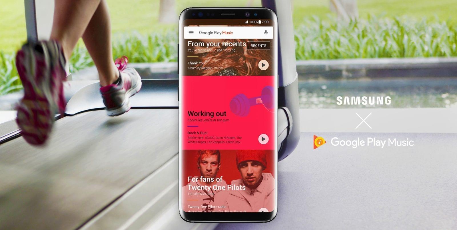 Galaxy S8 con Google Play Music