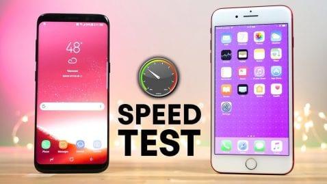 Prueba de velocidad Galaxy S8 vs iPhone 7 Plus