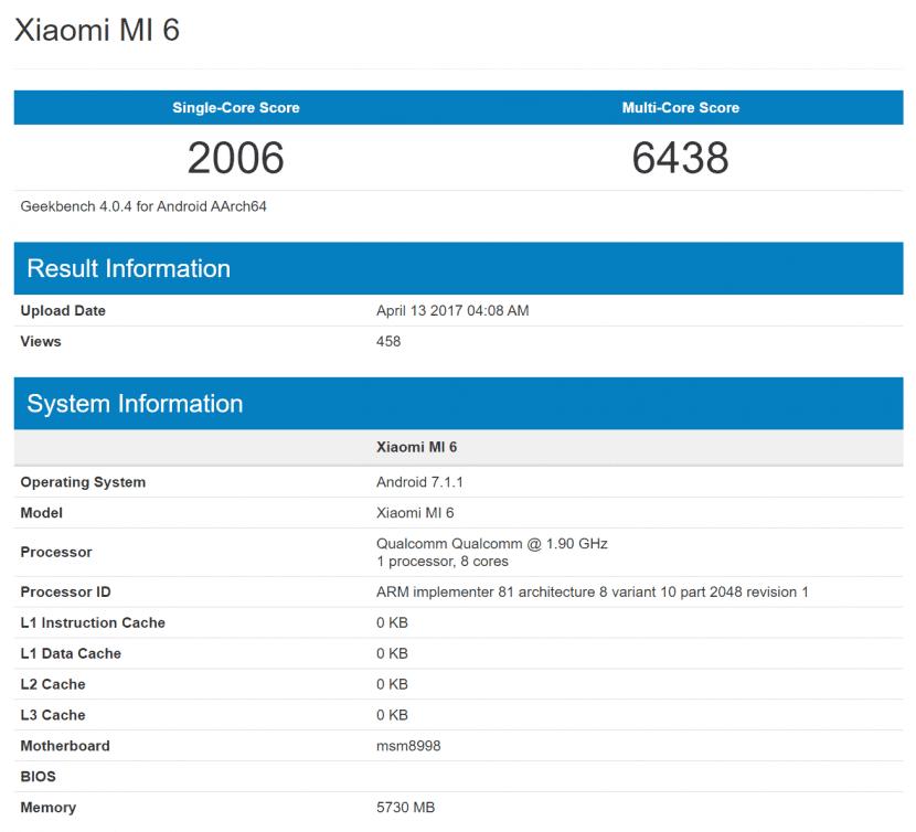 Xiaomi Mi 6 en GeekBench