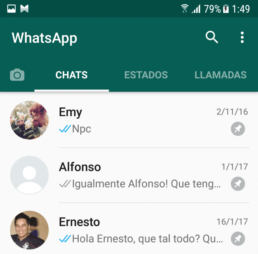 Chats anclados en WhatsApp Beta 2.17.163