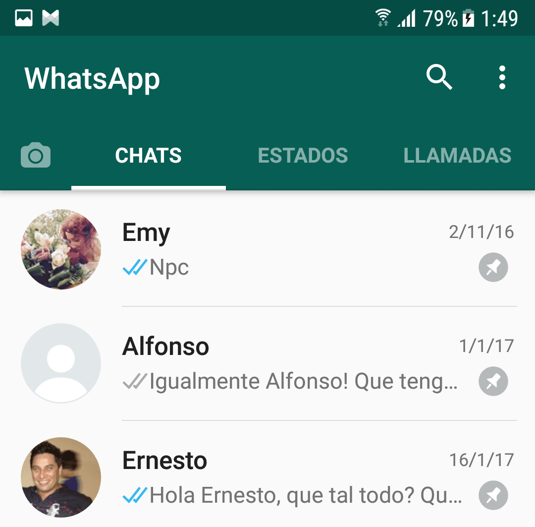 Chats anclados en WhatsApp Beta 2.17.163
