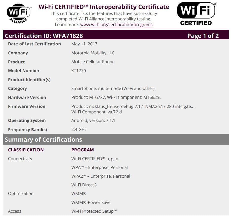 Moto MediaTek WiFi