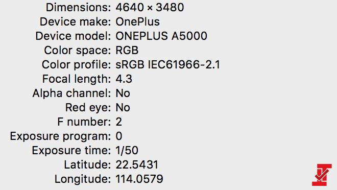 Datos EXIF de foto tomada con el OnePlus 5