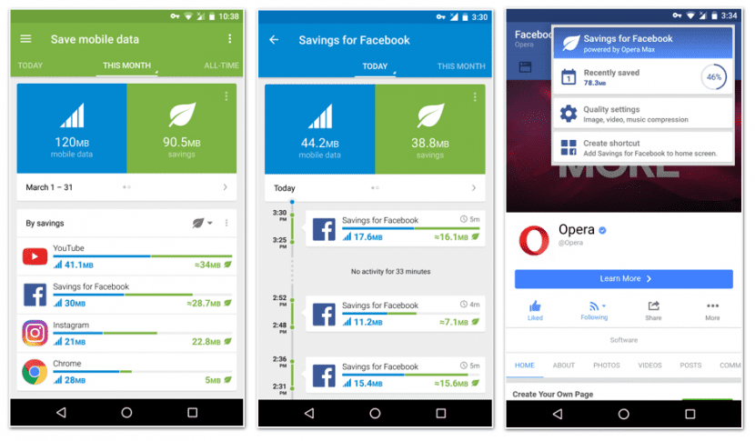 Opera Max 3.0 - Ahorro datos Facebook