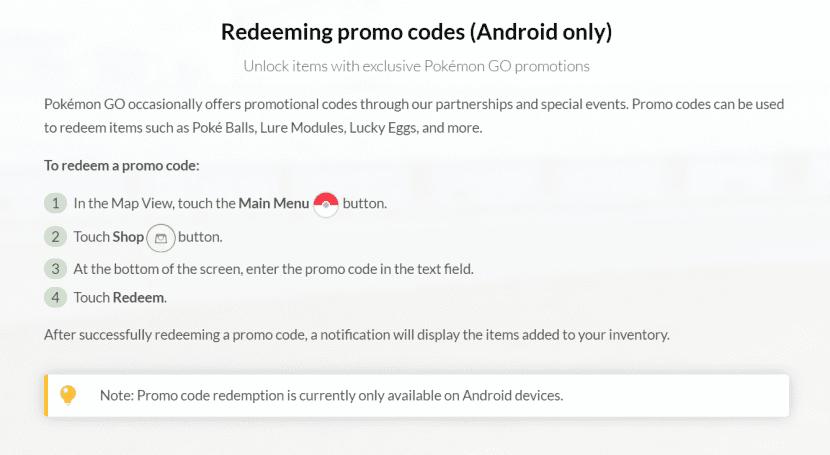 Códigos promocionales Pokémon Go