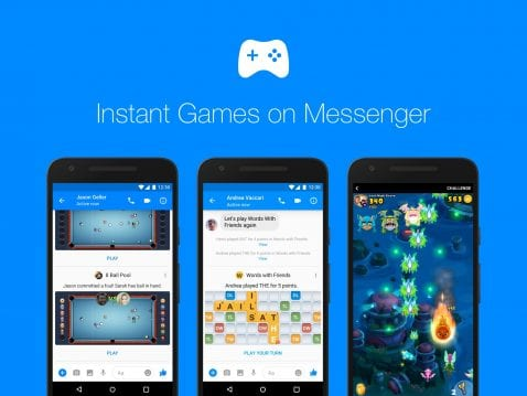 Juegos instantáneos en Facebook Messenger