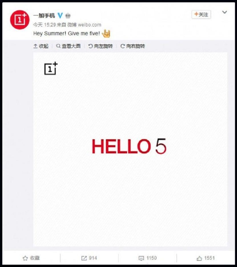 Teaser del OnePlus 5