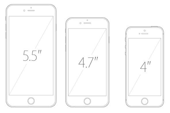 Varios tamaños de pantalla de los smartphones