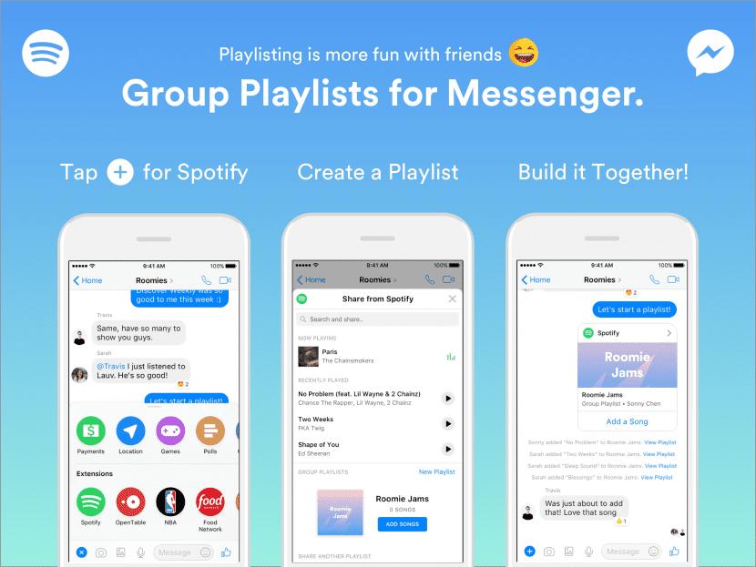 Listas de reproducción grupales de Spotify en Facebook Messenger