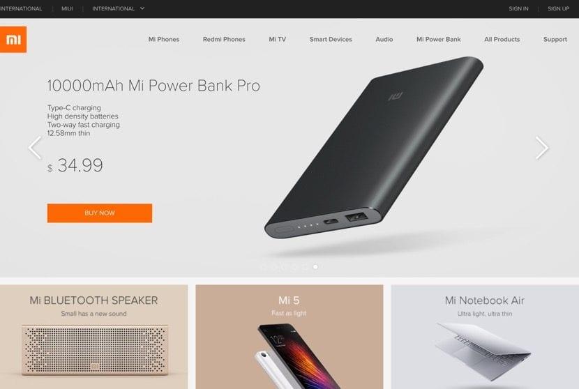 Página web de Xiaomi en español