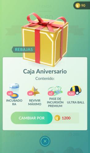 Caja de aniversario Pokemon GO nuevo evento