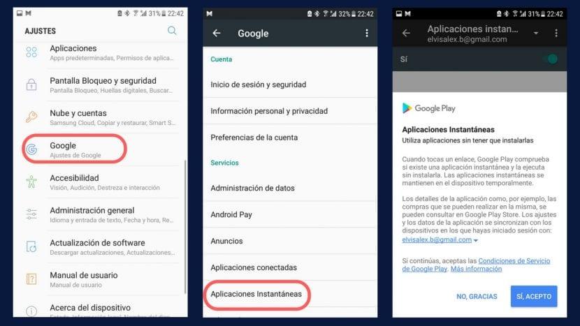 Aplicaciones instantáneas Android