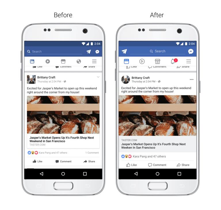 Interfaz Facebook 2017