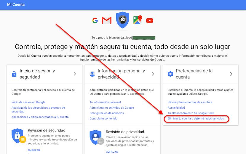 Eliminar tu cuenta de Google