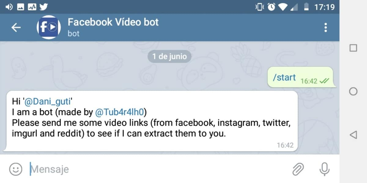 Bot de Telegram para descargar vídeos de Facebook