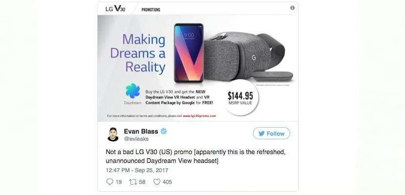 El LG V30 podría llegar al mercado con unas gafas Daydream VR de regalo