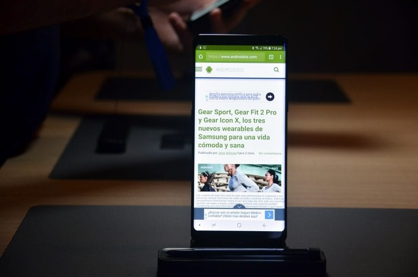 pantalla del Samsung Galaxy Note 8