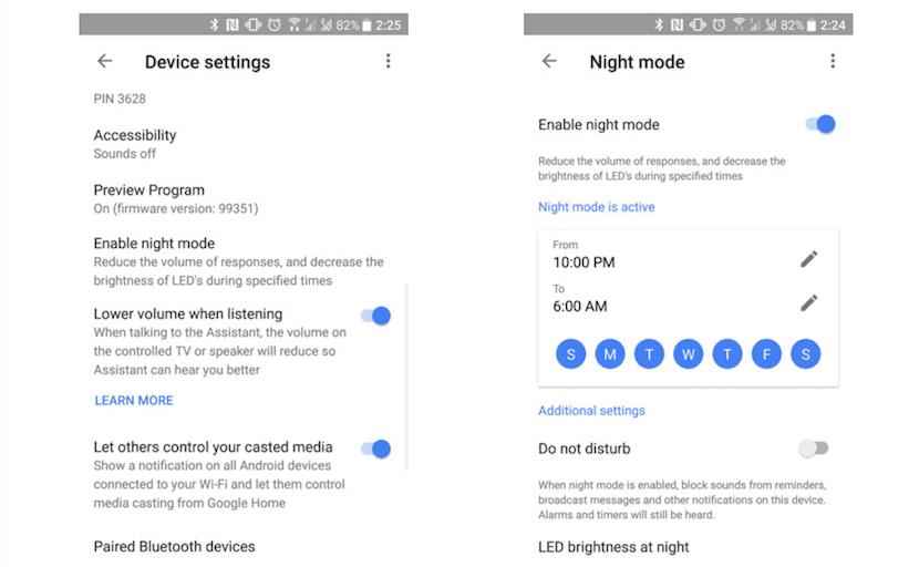 Google Home Modo Nocturno
