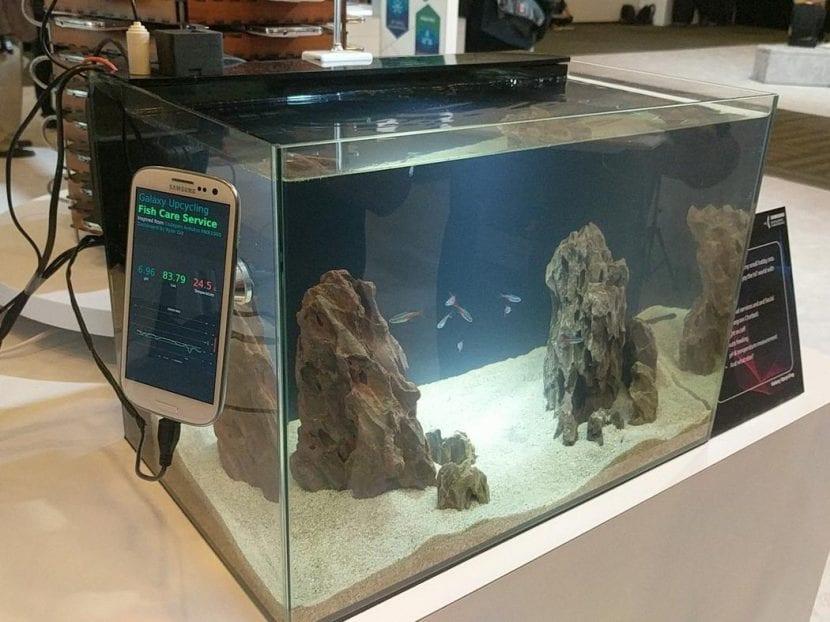 Samsung Galaxy S5 monitorizando el clima y el PH de un acuario