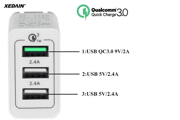 Cargador carga rápida Qualcomm 3.0 3 puertos en oferta