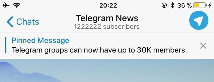 Mensajes fijados Telegram