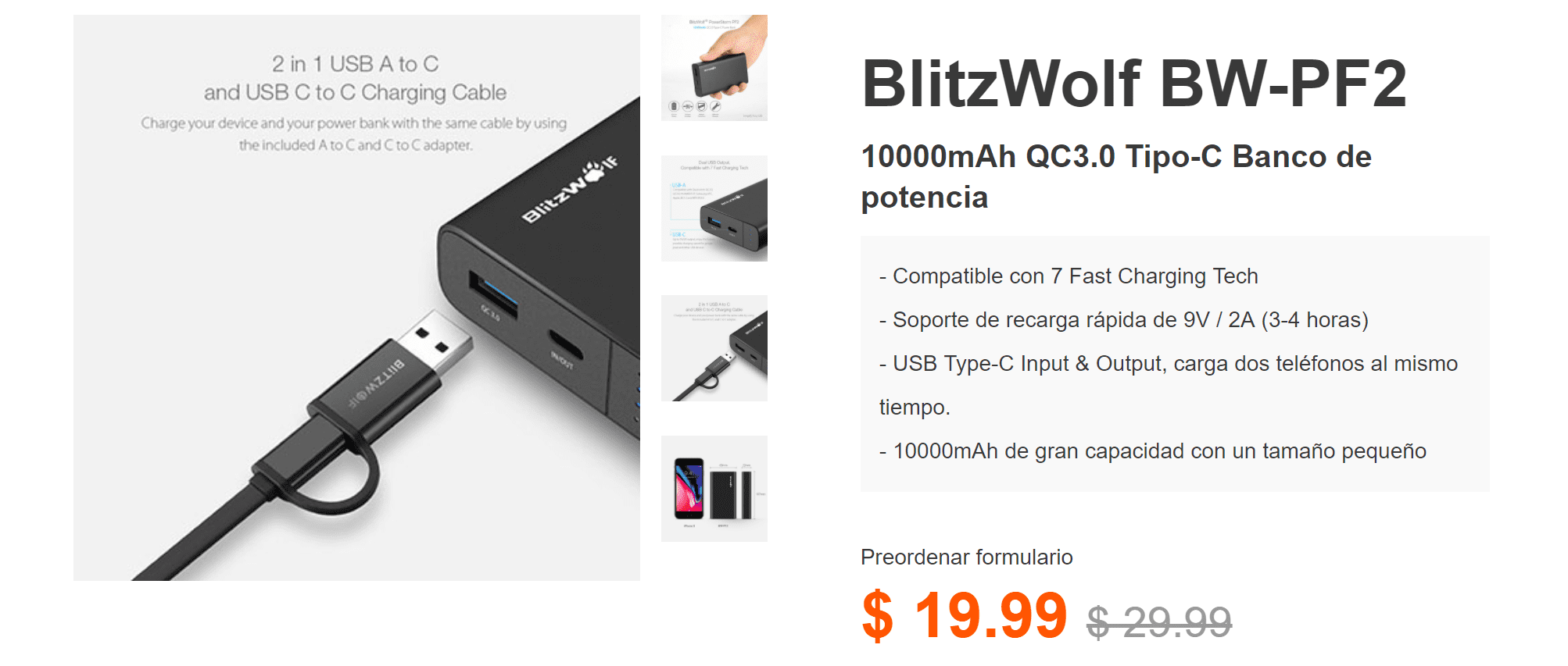 Power Bank USB Type-C de 10000 mAh y carga QC3.0 barato