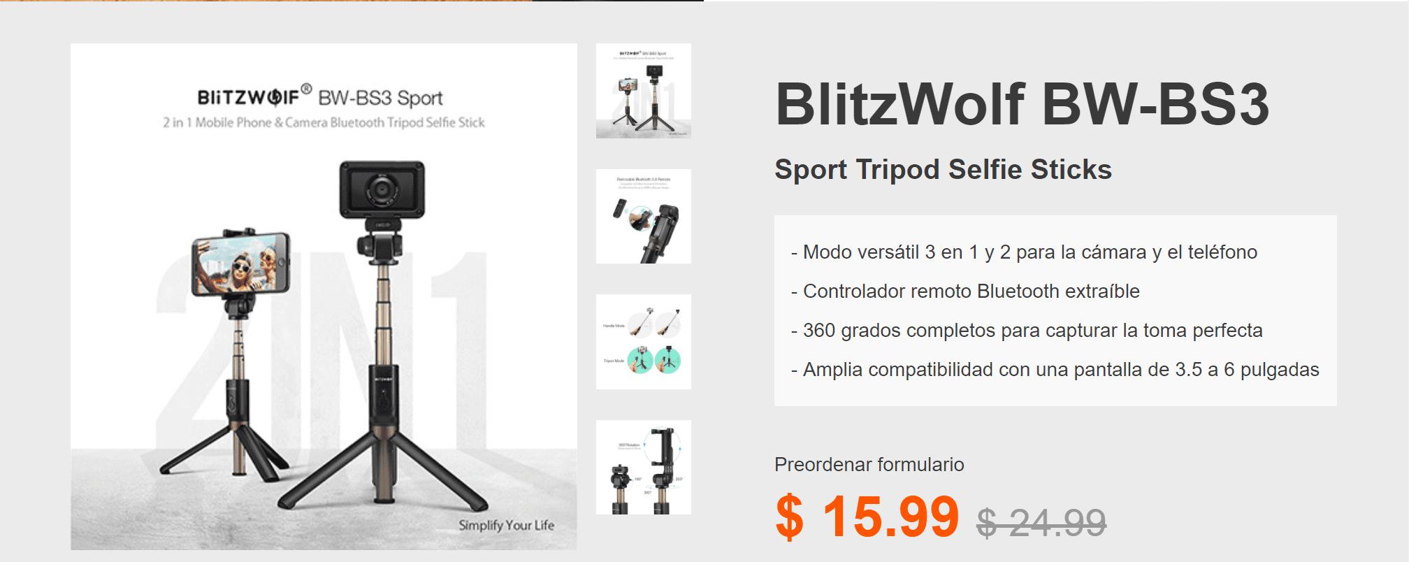 Blitzwolf palo selfie y tripode Sport en oferta