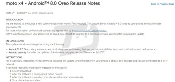 Moto X4 Android Oreo