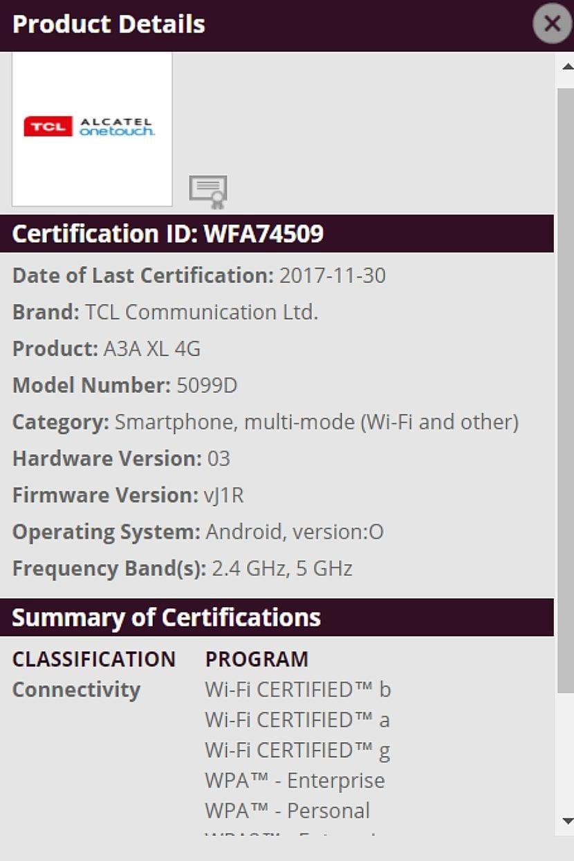 Alcatel A3A XL es el 5099D