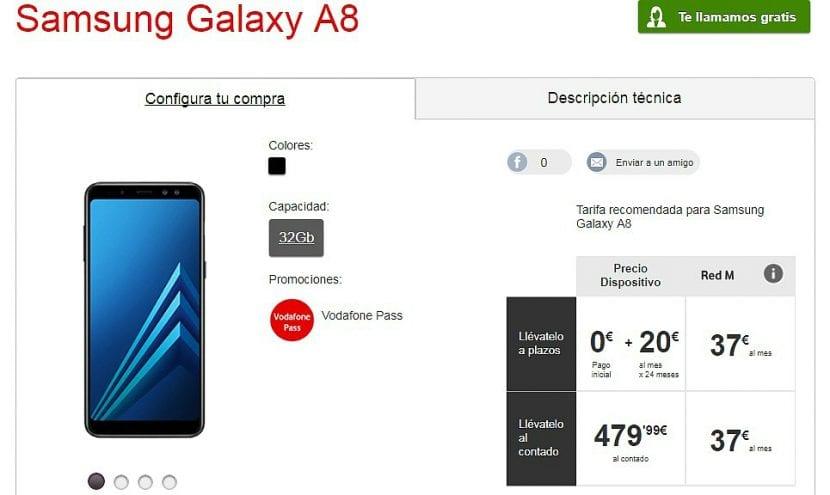 Samsung Galaxy A8 en Vodafone España