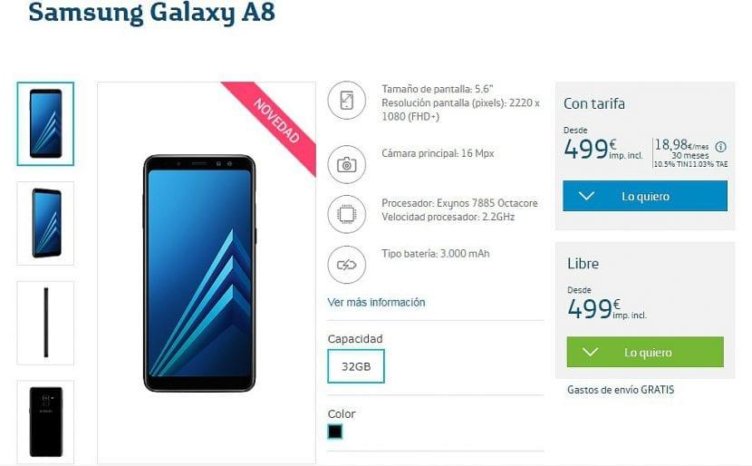 Samsung Galaxy A8 en Movistar España