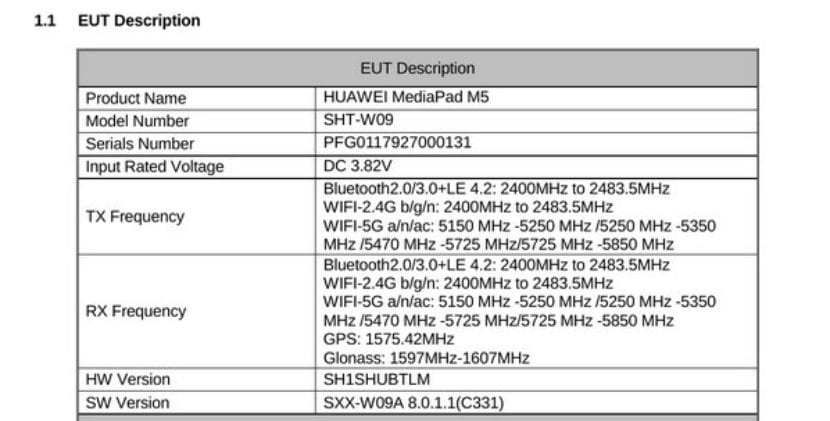 Especificaciones Huawei™ MediaPad M5